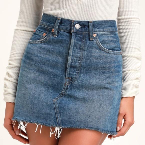 Levi's Dresses & Skirts - Levi's premium high rise raw hem denim mini skirt